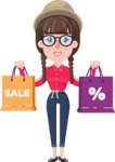 Flat Fashionable Girl With Hat and Pigtails - Holding shopping bags