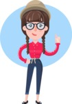 Flat Fashionable Girl With Hat and Pigtails - Shape 1