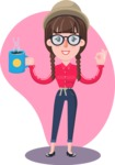 Flat Fashionable Girl With Hat and Pigtails - Shape 12