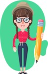 Flat Fashionable Girl With Hat and Pigtails - Shape 4