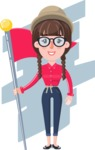Flat Fashionable Girl With Hat and Pigtails - Shape 8