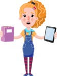 Cute Blonde Girl in Flat Style Cartoon Character - Choosing between Book and Tablet