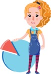 Cute Blonde Girl in Flat Style Cartoon Character - with Business graph