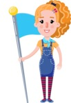 Cute Blonde Girl in Flat Style Cartoon Character - with Flag