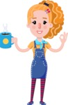 Cute Blonde Girl in Flat Style Cartoon Character - Drinking Coffee