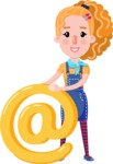 Cute Blonde Girl in Flat Style Cartoon Character - with Email sign