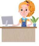 Cute Blonde Girl in Flat Style Cartoon Character - Sitting at desk