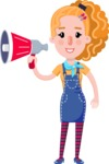 Cute Blonde Girl in Flat Style Cartoon Character - Holding a Loudspeaker