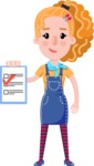 Cute Blonde Girl in Flat Style Cartoon Character - Smiling and holding notepad