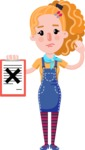 Cute Blonde Girl in Flat Style Cartoon Character - Holding a notepad with an X