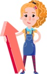 Cute Blonde Girl in Flat Style Cartoon Character - with Up arrow