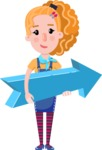 Cute Blonde Girl in Flat Style Cartoon Character - with Positive arrow