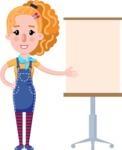 Cute Blonde Girl in Flat Style Cartoon Character - with a Blank Presentation board