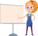 Cute Blonde Girl in Flat Style Cartoon Character - Pointing on a Blank whiteboard
