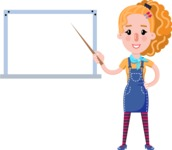 Cute Blonde Girl in Flat Style Cartoon Character - Making a Presentation on a Blank white board
