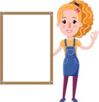 Cute Blonde Girl in Flat Style Cartoon Character - Making OK sign with Big Presentation board