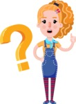 Cute Blonde Girl in Flat Style Cartoon Character - with Question mark