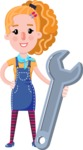 Cute Blonde Girl in Flat Style Cartoon Character - with Repairing tool wrench