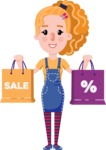Cute Blonde Girl in Flat Style Cartoon Character - Holding shopping bags