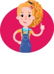 Cute Blonde Girl in Flat Style Cartoon Character - Shape 1