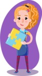 Cute Blonde Girl in Flat Style Cartoon Character - Shape 12