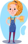 Cute Blonde Girl in Flat Style Cartoon Character - Shape 4