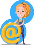 Cute Blonde Girl in Flat Style Cartoon Character - Shape 8
