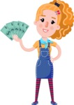 Cute Blonde Girl in Flat Style Cartoon Character - Holding Money