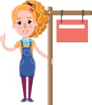 Cute Blonde Girl in Flat Style Cartoon Character - with Blank Real estate sign