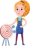 Cute Blonde Girl in Flat Style Cartoon Character - with Target