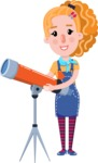 Cute Blonde Girl in Flat Style Cartoon Character - Looking through telescope