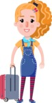 Cute Blonde Girl in Flat Style Cartoon Character - with Suitcase