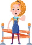 Cute Blonde Girl in Flat Style Cartoon Character - with Under Construction sign