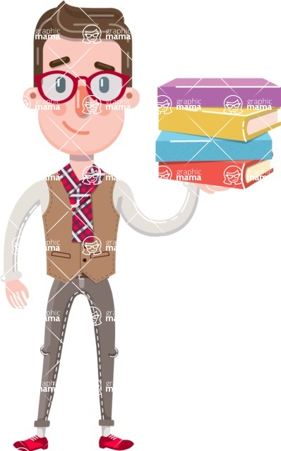Smart Office Man Cartoon Character in Flat Style - with Books