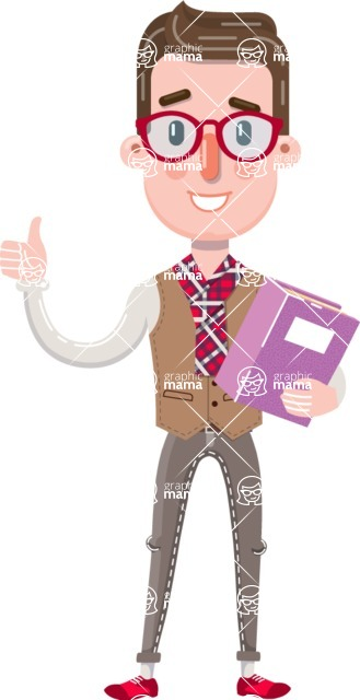 Smart Office Man Cartoon Character in Flat Style - Holding a book