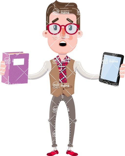 Smart Office Man Cartoon Character in Flat Style - Choosing between Book and Tablet