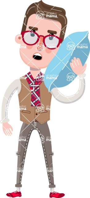 Smart Office Man Cartoon Character in Flat Style - Feeling Bored