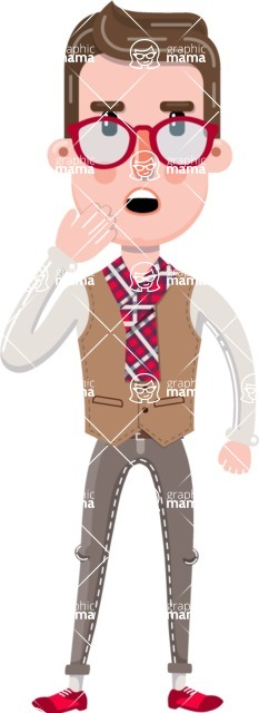 Smart Office Man Cartoon Character in Flat Style - Yawning