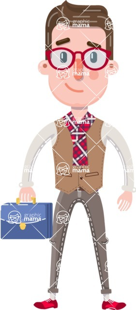 Smart Office Man Cartoon Character in Flat Style - with Briefcase