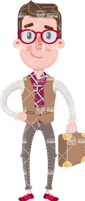 Smart Office Man Cartoon Character in Flat Style - Holding a briefcase