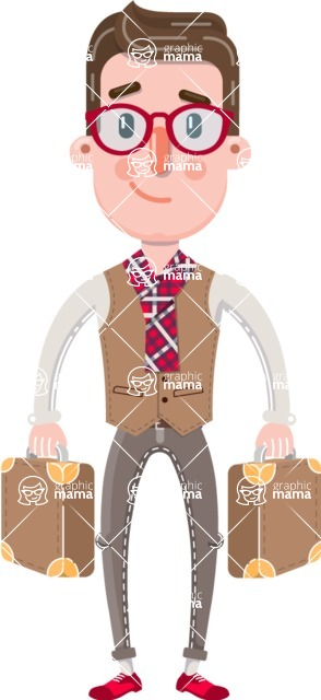 Smart Office Man Cartoon Character in Flat Style - with Two briefcases