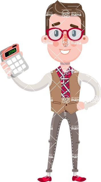 Smart Office Man Cartoon Character in Flat Style - with Calculator