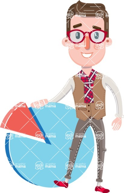 Smart Office Man Cartoon Character in Flat Style - with Business graph
