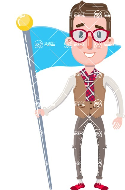 Smart Office Man Cartoon Character in Flat Style - with Flag