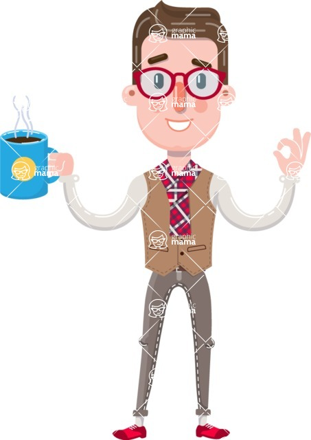 Smart Office Man Cartoon Character in Flat Style - Drinking Coffee