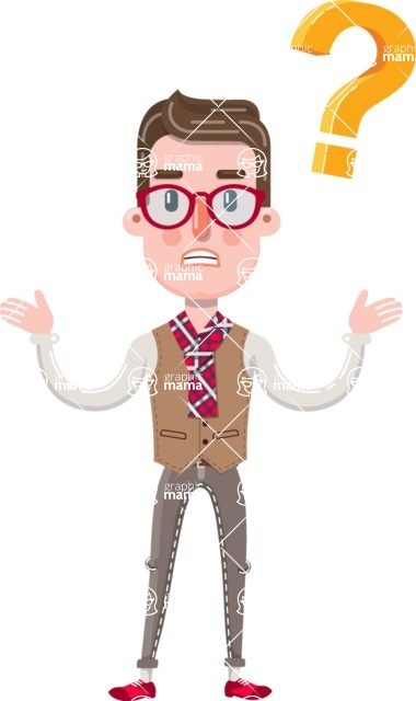 Smart Office Man Cartoon Character in Flat Style - Feeling Confused