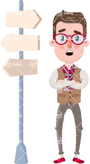 Smart Office Man Cartoon Character in Flat Style - on a Crossroad with sign pointing in all directions