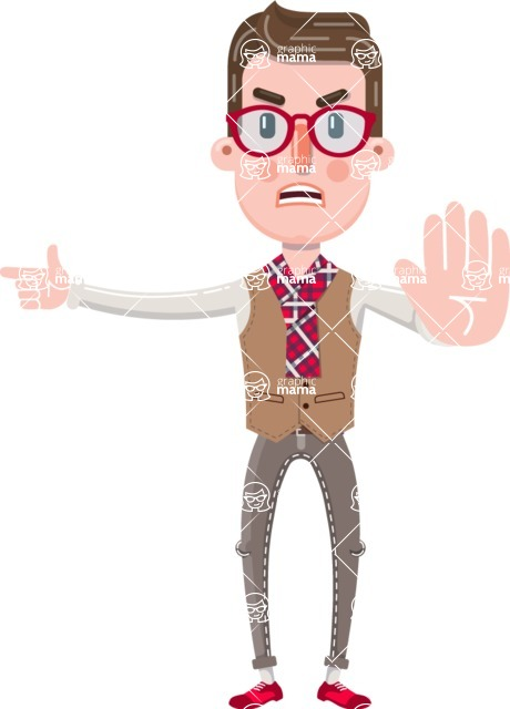 Smart Office Man Cartoon Character in Flat Style - Finger pointing with angry face