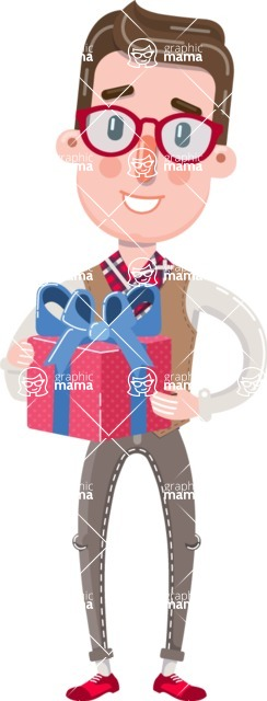 Smart Office Man Cartoon Character in Flat Style - with Gift box