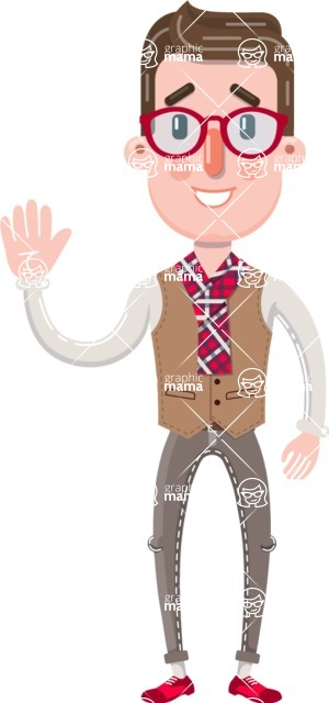 Smart Office Man Cartoon Character in Flat Style - Waving for Hello with a hand